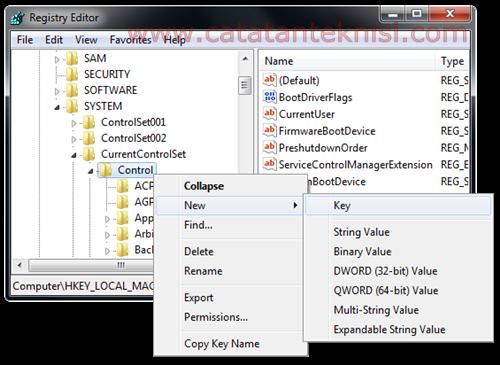 membuat key di registry Windows