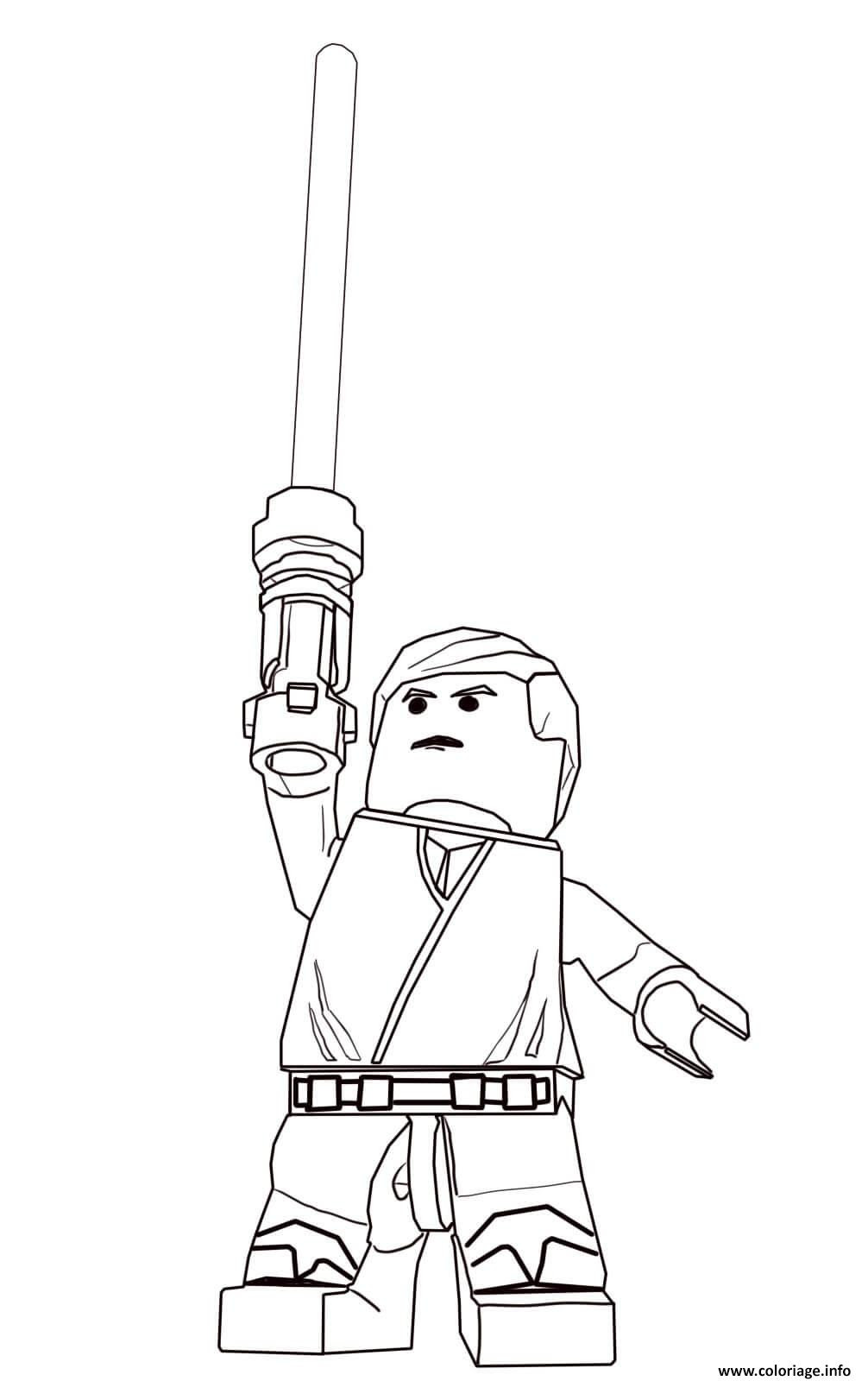 Coloriage Lego Star Wars Luke Skywalker Jecoloriecom