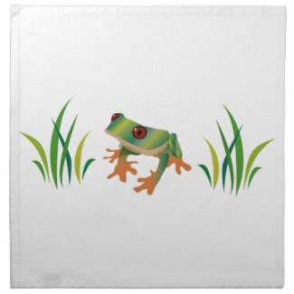 Tree Frog on Set of Cloth Napkins