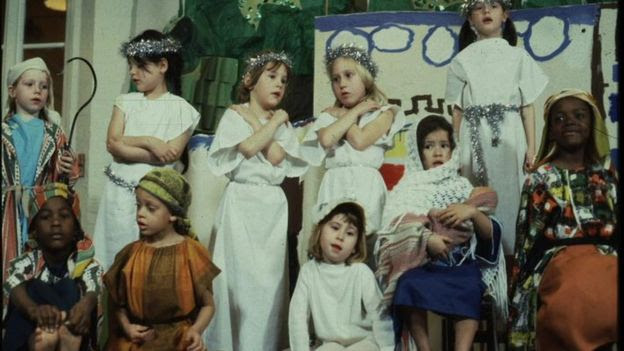 Nativity play in the 1970s or 1980s