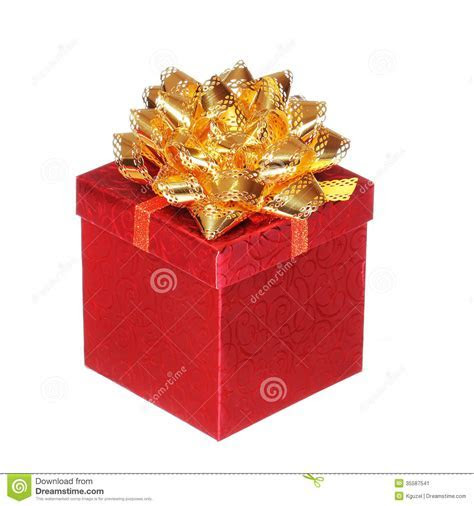 Christmas Red Gift Box With Gold Ribbon Bow, Isolated