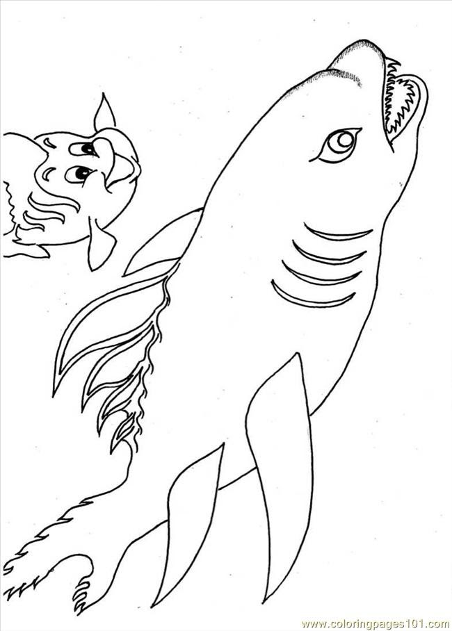Coloring Pages Little Fish And Shark Full (Fish > Shark ...