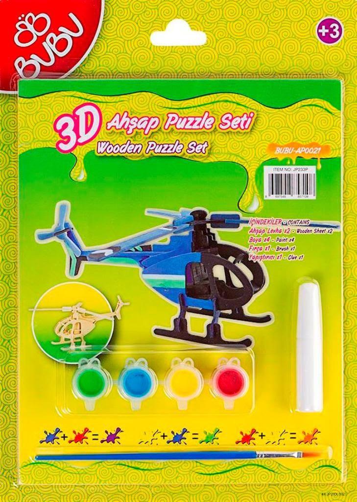 Bubu 3d Ahşap Maket Puzzle Boyama Seti Helikopter Bubu Bbap0021