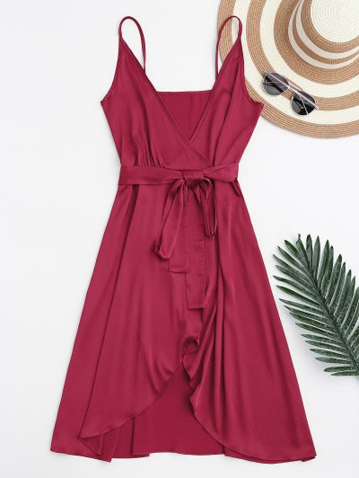 Zaful Spaghetti Straps Satin Belted Wrap Dress