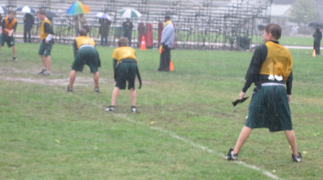 PAL Flag Football in a steady rain