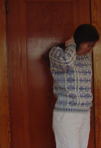 Pullover with Vertical Stripes - modeled