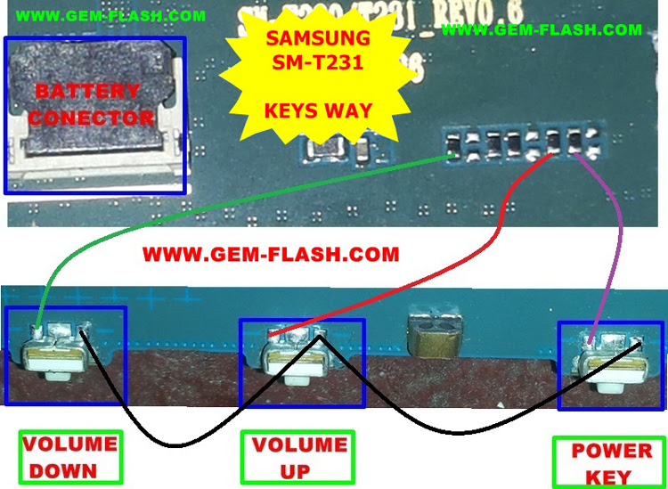 Samsung Galaxy Tab 4 7.0 3G SM-T231 Volume Up Down Keys Not Working Problem Solution Jumpers