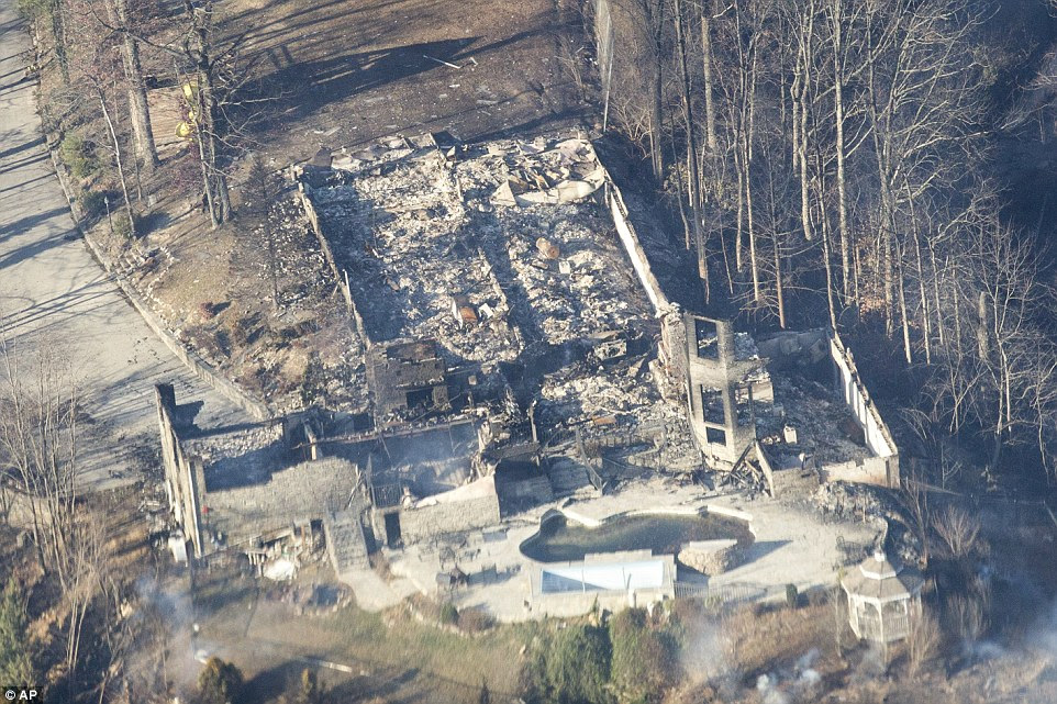 Burned structures are seen from aboard a National Guard helicopter near Gatlinburg, Tennessee on Tuesday