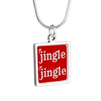Santa Jingle Silver Square Necklace