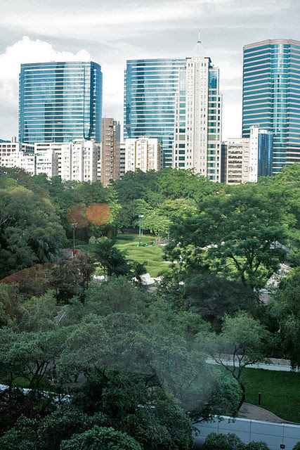 View from my hotel room, overlooking Kowloon Park
