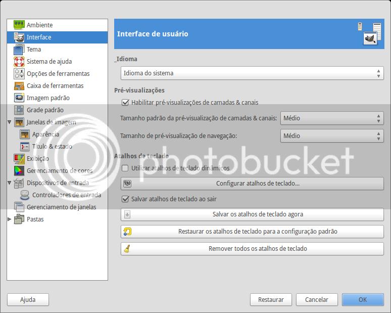 Janela de preferências do GIMP - Opção Interface está selecionada.