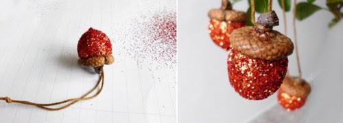 ghiande, glitter,decorare l'albero di natale,natale,