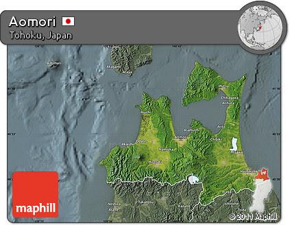 Satellite Map of Aomori, semi-desaturated
