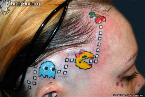 Ms. Pacman Head Tattoo. It's always a good idea to mark your receding