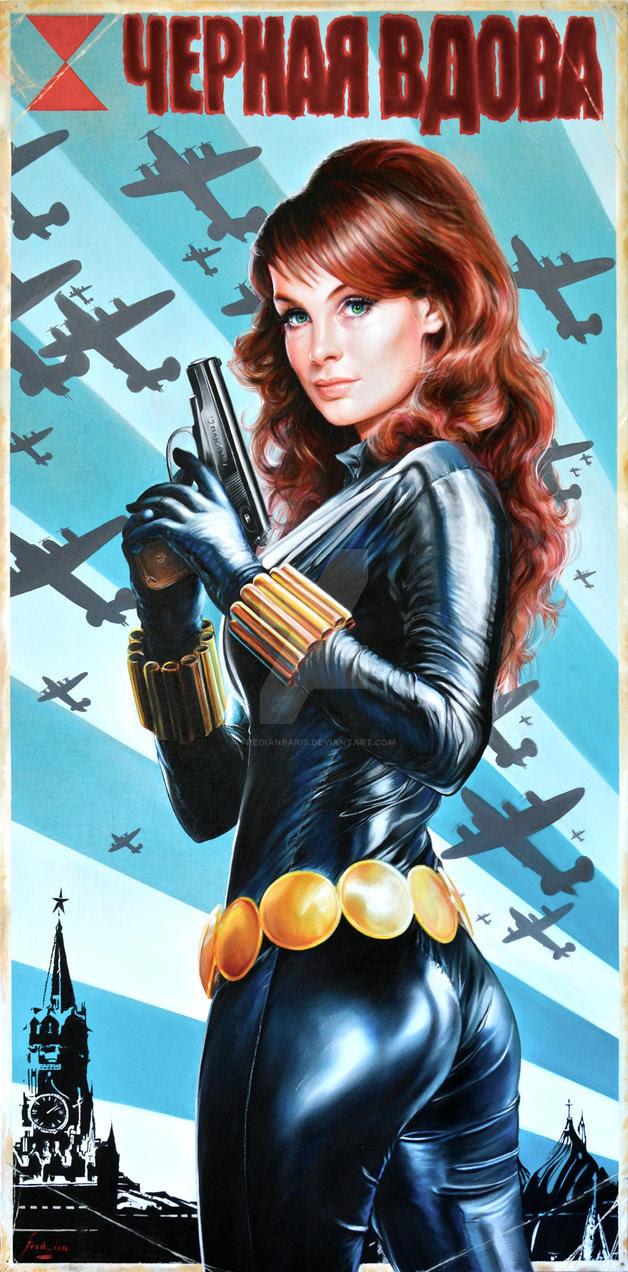 Black Widow Vintage Soviet Poster Portrait by FredIanParis on DeviantArt