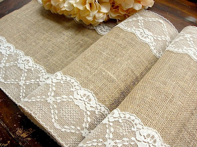 Burlap and lace Table Runner wedding table runner Ivory Lace Wedding table decoration Country Wedding Linens , handmade in the USA