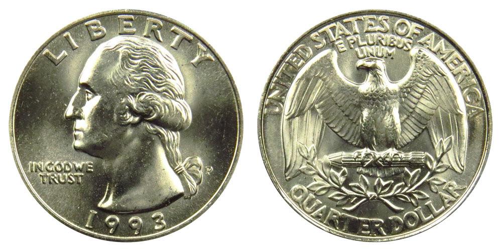 1993 P Washington Quarters Clad Composition: Value and Prices