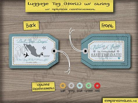 Custom luggage tag save the date cards Canada   Empire Invites