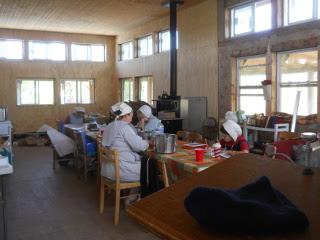 Ladies Processing Pumpkin & Sewing