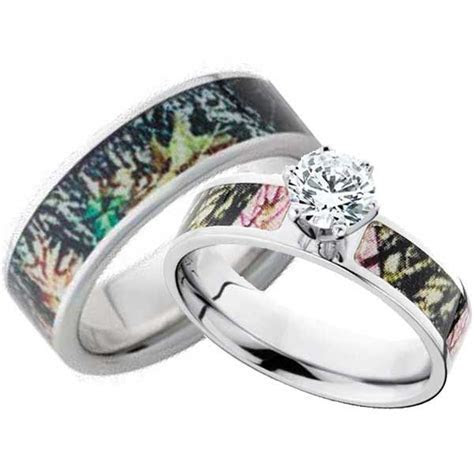 His and Hers CZ Camo Wedding Ring Set   Matching set, Camo