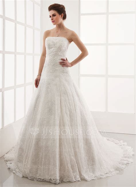 A Line/Princess Strapless Cathedral Train Lace Wedding
