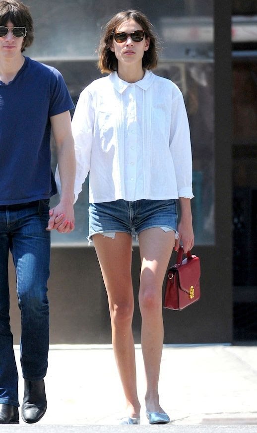 14 Le Fashion Blog 40 Of Alexa Chung Best Looks With Denim Shorts White Collared Shirt Silver Flats Jean Cut Offs Red Bag Alex Turner Via HQ Pictures