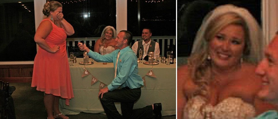 Picture of wedding guest proposing to his girlfriend right in front of newlyweds has the