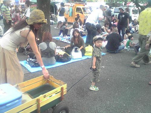 Boy drawing a cart
