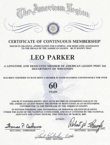 60 year Certificate of Continuous Membership