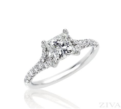 Cathedral with Split Shank Princess Cut Diamond Engagement