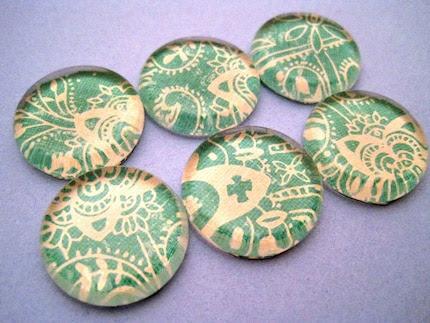 Teal Green Damask Inch Glass Magnet Set