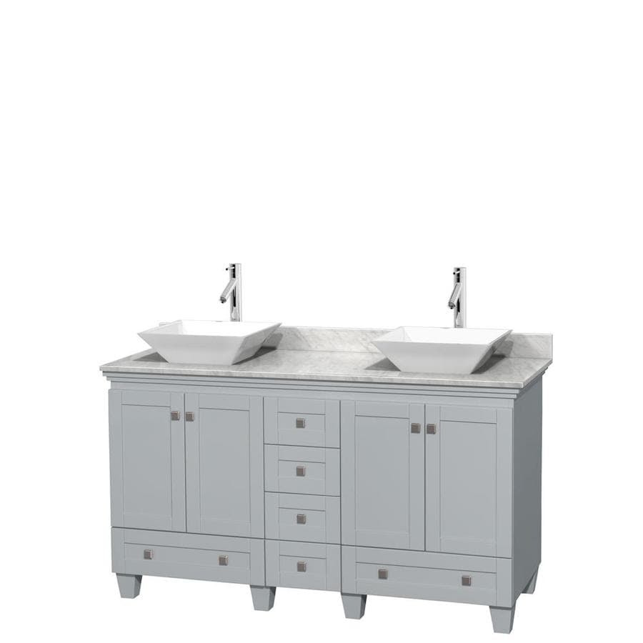 Wyndham Collection Acclaim 60 In Oyster Gray Double Sink Bathroom Vanity With White Carrera Natural Marble Top In The Bathroom Vanities With Tops Department At Lowes Com