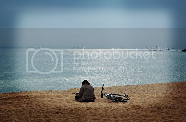 Lonesome Biker at the Beach