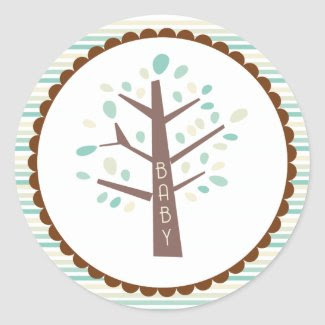 Tree Baby Shower Cupcake Topper/Sticker zazzle_sticker