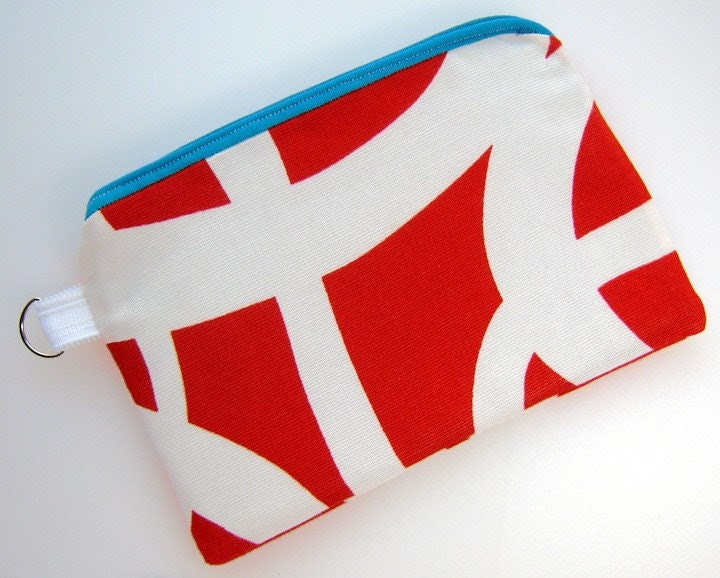 COIN PURSE WALLET Red White Aqua Blue Lined Zippered Pouch 3695
