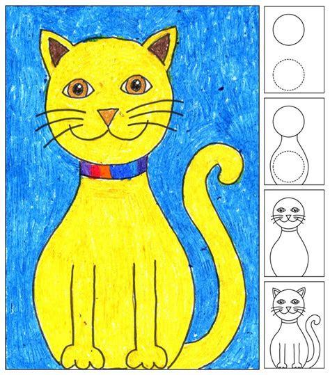draw  sitting cat art projects  kids
