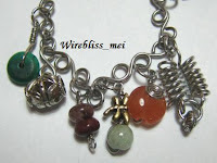 Wire Wrapped Charm Bracelet with multiple color gemstones