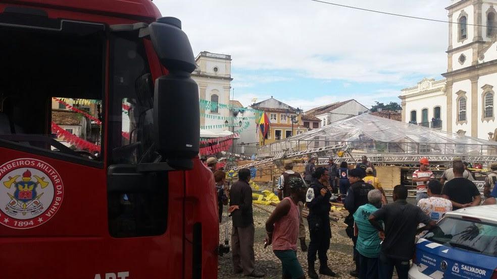 Corpo de Bombeiros atendeu às vítimas no Pelourinho (Foto: Corpo de Bombeiros/Divulgação)