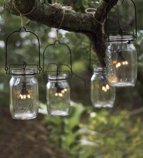 Glass Mason Jar Solar String Lights - modern - outdoor lighting
