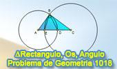 Problema de Geometría 1018 (English ESL): Triangulo Rectángulo, Circunferencia, Centro, Vértice, Angulo