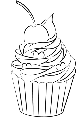 cupcake with cherry on top coloring page  free printable coloring pages