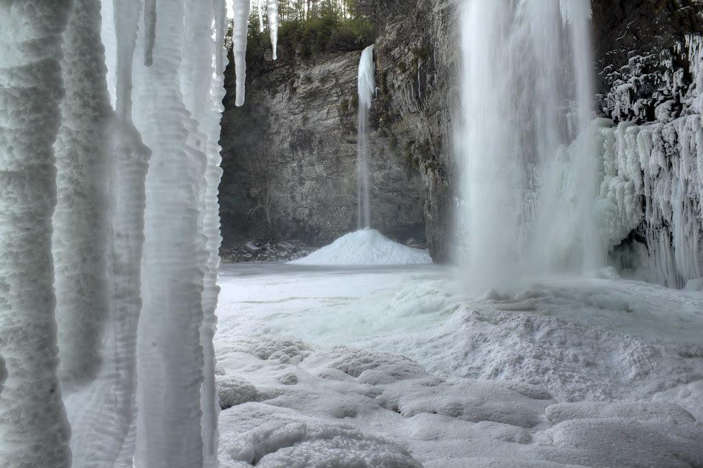 Rockhouse Falls and Cane Creek Falls frozen detail 1, Fall Creek Falls State Park, Van Buren County, Tennessee