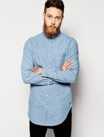 Asos Denim Shirt In Longline With Mid Wash
