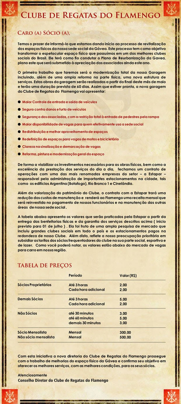Comunicado Flamengo (Foto: Divulgação)
