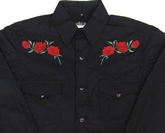 Mens Red 'Texas Rose' black western shirt