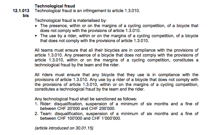 bike doping UCI rules