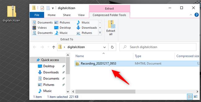 Steps Recorder guarda grabaciones como archivos mhtml dentro de archivos ZIP