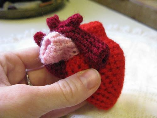 crocheted anatomical heart