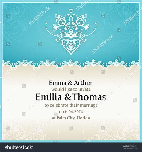 Blue Wedding Invitation Design Template With Doves, Hearts