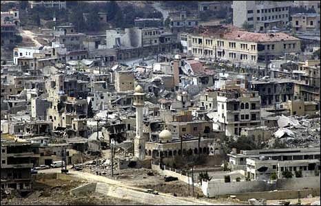 File photo of scene of devastation at Bint Jbeil in Lebanon.